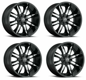Set 4 18 Vision 423 Manic Black Machined Face Wheels 18x9 8x180 12mm Truck Rims