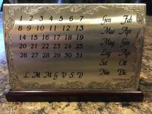 Vintage Sterling Silver Desk Top Calendar