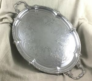 Very Large 19th C Victorian Silver Plated Butlers Tray Antique Original