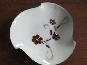 Vintage Bovano Enamel Covered Copper Art Bowl Dish Mid Century Modern Flowers
