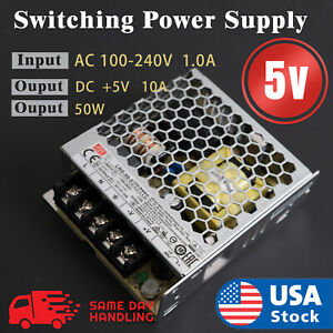 Mean Well Rs 50 5 Enclosed Switching 5 Volt 10 Amp Ac dc Power Supply 5v 10a 50w