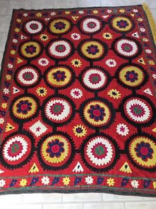 Large Uzbek Vintage Old Handmade 100 Original Embroidery Wall Hanging Suzani