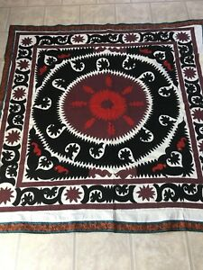 Antique Uzbek Vintage Original Wall Hanging Hand Emroidered Tablecloth Suzani