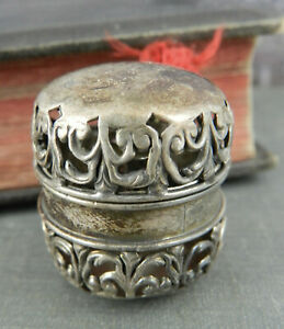 Antique Foster Bailey Sterling Silver Chatelaine Thimble Holder