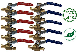 3 4 Pex Brass Ball Valve Lead Free For Hot Cold Water Pack Of 10
