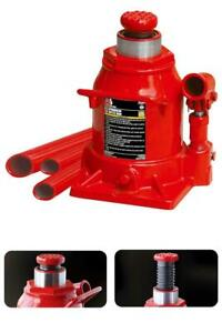 Low Profile Air Hydraulic Bottle Jack 2 ton Chrome Cylinder Red Wide Rugged New