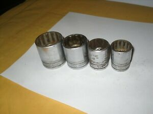 Snap On 4pc 1 2 Dr 12pt Swh261 13 16 Sw281 7 8 Swh341 1 1 16 Sw381 1 3 16