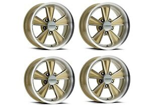 Set 4 17 Vision Muscle V324 Dazzler Gold Machined Rims 17x8 5x4 75 0mm Classic