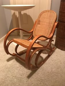 Vintage Child S Or Doll Bentwood Cane Rocking Chair Mid Century Thonet Era