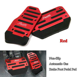 2x Auto Car Red Universal Racing Sports Non Slip Gas Brake Pedals Pad Cover Trim
