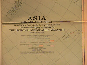 World War Ii Vintage 1942 National Geographic Map Of Asia And Adjacent Areas