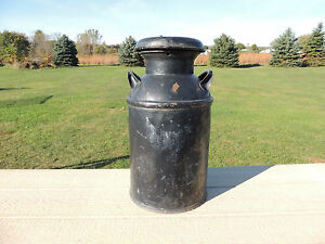 Antique Neverleak Metal Milk Can Cream Can W Lid In Nice Condition Black Color