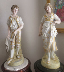 36 Antique French Pair Of Porcelain Bisque Couple Museum Quality Pieces
