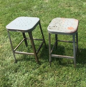 Vintage Lyon Square Metal Lab Industrial Factory Steampunk Retro Stools