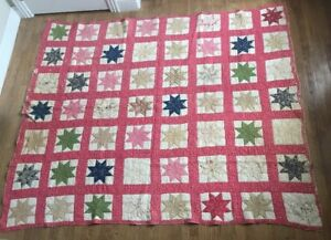 Antique Wonderful Hand Sewn 56 8 Pt Star Colorful Quilt 82 X 72