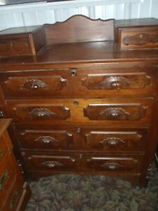 Vintage Solid Oak Wood Dresser Nice