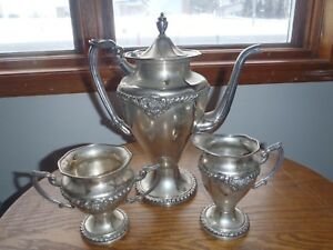 Rare Vintage Continental Ultraplate Silver Plate Tea Coffee And Creamer Set