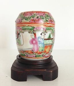 Old Vintage Chinese Porcelain Famille Rose Medallion Jar Box Lid Old Stand
