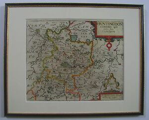 Huntingdonshire Antique Map By Saxton And Kip 1610 Or 1637