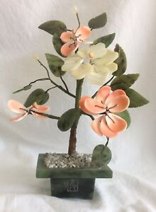 Vtg Chinese Shell White Quartz Bonsai Flower Tree Unusual Carved Jade Base Pot