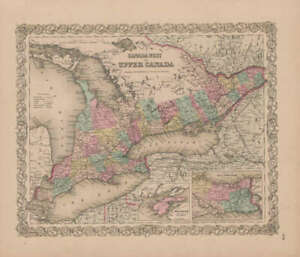 Ontario Canada Vintage Map Gw Colton 1855 Original Canadian Decor Gift Idea