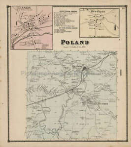 Poland Kennedy New York Antique Map Stewart 1867 Original Decor Gift Idea