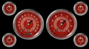 V8 Red Steelie Series Six Gauge Set Classic Instruments V8rs51slc