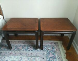 Pair Of Vintage Lane Asian Style Chinoiserie End Side Tables Nightstands