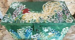 Primitive Wood Trunk Wooden Document Chest Storage Box Hand Painted Chicken Cat