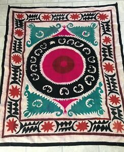 Hand Embroidered Uzbek Vintage Original Antique Wall Decor Tablecloth Suzani