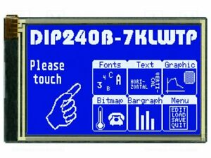 Display Lcd Graphical Stn Negative 240x128 Blue Led 113x70mm Graphic Screen