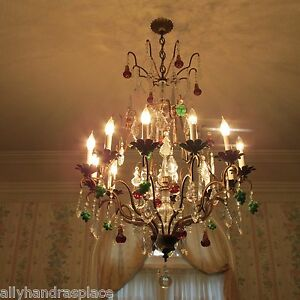 Antique Vintage Italian Crystal Directoire Murano Glass Fruit Chandelier 12 Lite