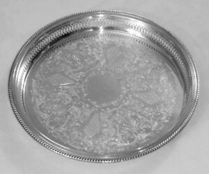 Antique Fb Rogers Silver Plate Beverage Tray W 1 1 2 Reticulated Raised Border