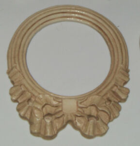 5 Carved Pressed Wood Round Ribbon Frame Architectural Salvage Pediment Applique