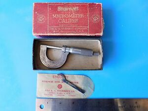 Used Vintage Starrett 3 Micrometer 0 1 In With Box