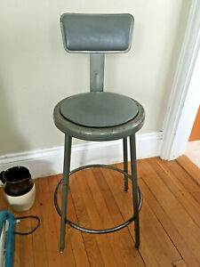 Vtg Krueger Mc Industrial Era Metal Stool Back Work Chair Grey Drafting Medical