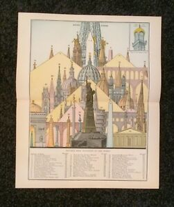 Vintage Original Chart 1897 Notable High Buildings Of The World Eaton