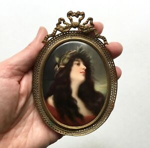 Fine Antique Hutschenreuther Painted Porcelain Portrait Plaque 1880s Germany
