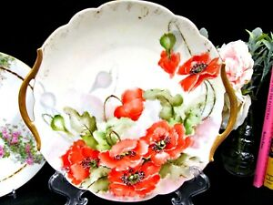 Limoges France Painted Floral Poppy Charger With Gold Handles Gold Gilt
