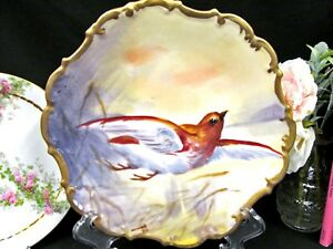 Limoges France Painted Bird In Flight Artist Signed Rocco Edges Plate Charger