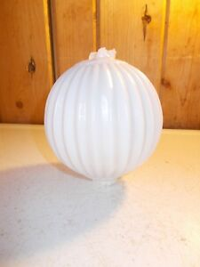 Antique White Sharp Pleat Milk Glass Lightning Rod Ball