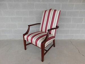 Statesville Chair Co Regency Style Mahogany Frame Library Arm Chair