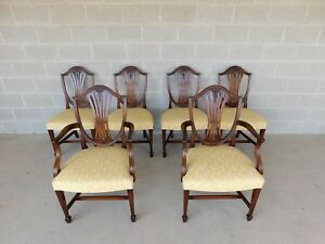 Quality Vintage Mahogany Shield Back Dining Chairs Wood Hogan Set Of 6