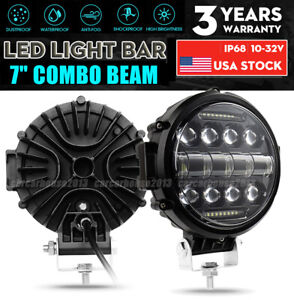 2pcs 7 Inch Round Led Work Light Combo Beam Drl Driving Fog Offroad Truck Jeep