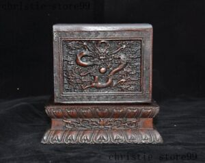 6 China Redwood Wood Carved Dragon Statue Dynasty Emperor Seal Stamp Signet Box