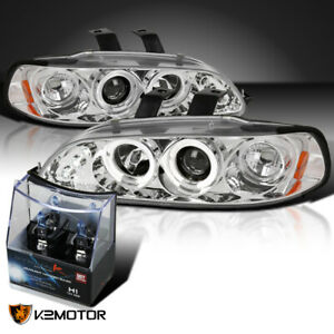 For 92 95 Honda Civic Chrome Led Halo Projector Headlights H1 Halogen Bulbs