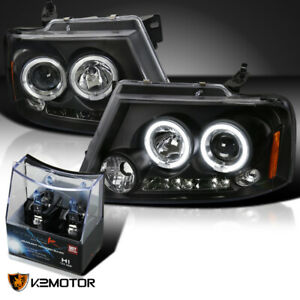 For 2004 2008 Ford F150 Black Led Halo Projector Headlights h1 Halogen Bulbs