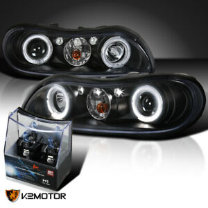 97 03 Chevy Malibu Black Halo Led Projector Headlights H1 Halogen Bulbs