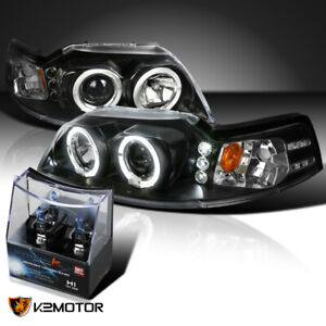For 1999 2004 Ford Mustang Black Led Halo Projector Headlights H1 Halogen Bulbs