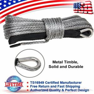 Grey 1 4 X 50 7700lbs Synthetic Winch Line Cable Rope With Sleeve For Atv Utv